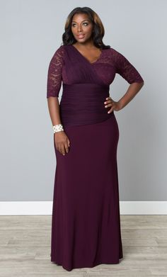 There's no doubt you'll stand out in the crowd when you wear our plus size Soiree Evening Gown to your next event! Unique details like a scalloped lace V-neck and a beautiful mesh drop waist add intrigue to this amazing silhouette that will flatter your curves. Browse our entire collection of made in the USA fashions at www.kiyonna.com. #kiyonnaplusyou