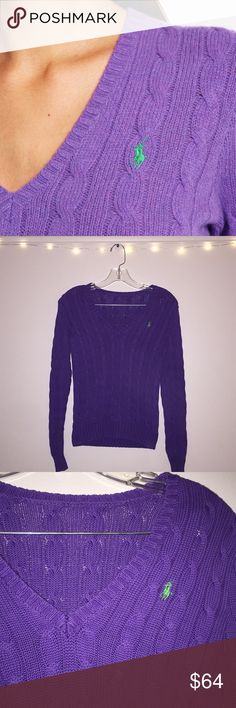 Polo Ralph Lauren purple cable knit sweater Polo Ralph Lauren cable knit v-neck jumper. In great condition. **Missing tag** fits size small. please ask any questions!! Polo by Ralph Lauren Sweaters V-Necks