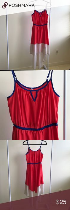 """Great lightweight sundress Perfect dress for day or night! Red and off white with royal blue detail at neckline and elasticized waist with adjustable straps. Very flattering high low hemline makes the dress stand out! In great condition... no stains!  Size tag was cut out but I believe it is a M. Measurements are: 26"""" around relaxed waist, 10"""" from center of neckline to waist, 22"""" from waist to center of front hem. 36"""" from waist to center of back hem. Please ask for any other measurements…"""