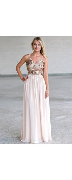 Cream and gold sequin maxi dress, cute formal maxi prom dress lily boutique Prom Dresses Blue, Dresses For Teens, Bridesmaid Dresses, Formal Dresses, Formal Prom, Wedding Dresses, Sequin Formal Dress, Sequin Maxi, Dresser