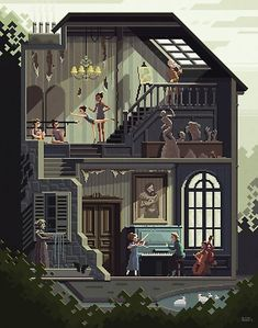 Pixel art paintings by Octavi Navarro - Ego - AlterEgo Pixel Art Gif, How To Pixel Art, Art And Illustration, Art Illustrations, Pixel Art Background, Animation Background, Concept Art Landscape, Art Steampunk, Art Tutorial