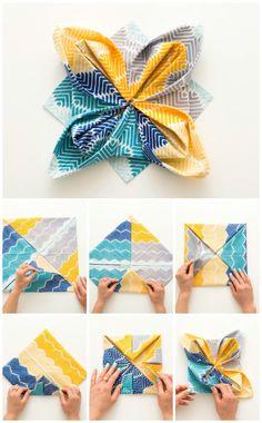 diy servietten falten anleitung seerose bunt gefärbt