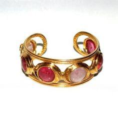 Chanel Pinks Of Spring Gripoix Goldtone Bangle Logo Bracelet