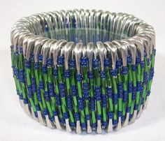 Green and Blue  Beaded Safety Pin Bracelet