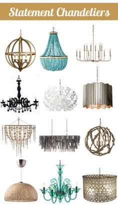 Statement Light Fixtures- chandeliers and pendants. Would a chandelier (bottom all the way to right) ruin flow of my kitchen/dining? Dining Room Lighting, Home Lighting, Chandelier Lighting, Lighting Ideas, Dining Chandelier, Eames Design, Luminaria Diy, Home Decor Kitchen, Kitchen Dining