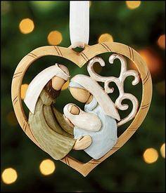 The Heart of Christmas Nativity Heart Ornament - Christmas Clay, Christmas Hearts, Merry Christmas To You, Christmas Nativity, Diy Christmas Ornaments, Christmas Decorations, Xmas, Nativity Ornaments, Felt Ornaments