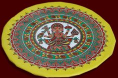 Daala(Bamboo Tray with stand) decorated with painting for Sidhant (Engagement) in Mithila. Artist : Nupur Nishith