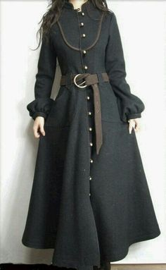 Beautiful and practical Victorian gothic or primitive folk style fashion maxi coat , riding, military style cut love it to death looks to get