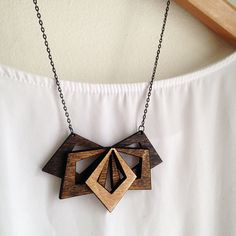 Large Wooden Statement Necklace and Diamond Shaped Earrings Set - Wooden…