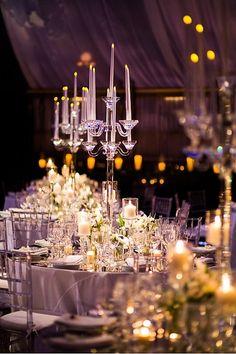 Crystal Candelabra Centerpiece | Event Planning & Design: tracytaylorward.com | Photography: roeyyohaiphotogra... | Wedding Venue: Gotham Hall