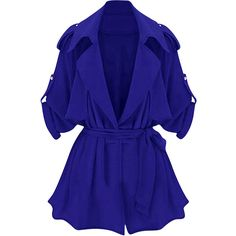 Womens Plain Turndown Collar Sash Trench Coat Sapphire Blue ($20) ❤ liked on Polyvore featuring outerwear, coats, jackets, blue trench coat, blue trenchcoat, collar coat, blue coat and sash belt