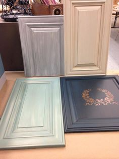 Painted, glazed and one lacquered cabinet doors from our Advanced Cabinet Class using The Couture Collection!(TM) paints, glazes and lacquers. Http:// www.paintcouture.com