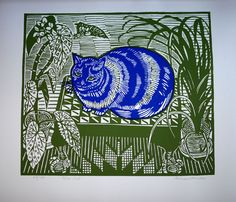 Richard Bawden linocut cat