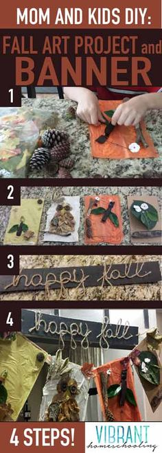 EASY and FUN fall craft project for kids! And you get a beautiful fall banner! 4 steps! [VibrantHomeschooling.com]