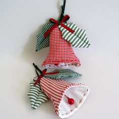 Fabric, hanging, christmas bells with decorative mistletoes in plaid and stripy green, clapper with little bells. Christmas Bells, Christmas Stockings, Christmas Ideas, Fabric Ribbon, Red Ribbon, Busy Board, Mistletoe, Plaid, Holiday Decor