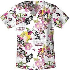 Cherokee Tooniforms Sparkle Dreams print scrub top BUY ME
