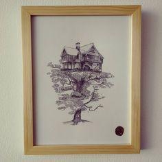 """"""" Hogar sostenido """" listo con su marco para la venta. Envíos a toda Colombia. #Himallineishon #illustration #art #house #tree"""