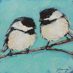 Chickadee bird paintings 5x5 original oil painting of by LaveryART
