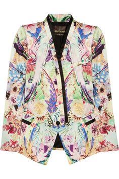 Roberto Cavalli|Floral-print silk-twill blazer|NET-A-PORTER.COM