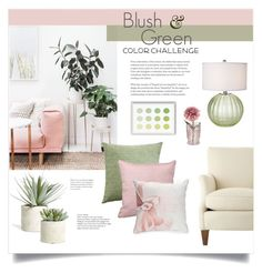 """""""Color Challenge: Green & Blush"""" by catchsomeraes ❤ liked on Polyvore featuring interior, interiors, interior design, home, home decor, interior decorating, Allstate Floral, LINUM, Pacific Coast and Biltmore"""