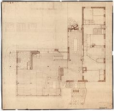 Beautifully rendered plan in pencil.  Note the detail in the finishes.  Villa Mairea 1938-39 by Alvar Aalto.