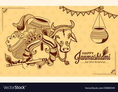 Happy Janmashtami, Krishna Janmashtami, Buddhism Wallpaper, Lord Krishna, Shiva, Festivals Of India, Poster Background Design, Indian Art Paintings, Paint Designs