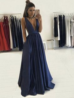 Navy A-line V-neck Satin with Ruffles Floor-length Prom Dress $135.99