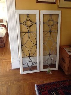 two antique leaded glass cabinet doors