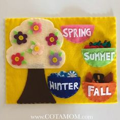 4 seasons felt book page 4 seasons felt book page Handmade felt quiet book page for kids<br> Diy Quiet Books, Baby Quiet Book, Felt Quiet Books, Quiet Book Templates, Quiet Book Patterns, Felt Board Patterns, Felt Crafts Kids, Toddler Crafts, Clay Crafts