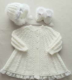 A knitting pattern for a swing coat, 3 styles of hat, a bobble hat, a square hat and a bonnet, and booties. made using Dk yarn or it can be made in aran yarn. Baby Scarf, Baby Vest, Baby Cardigan, Christmas Knitting Patterns, Baby Knitting Patterns, Baby Sweaters, Girls Sweaters, Swing Coats, Dress Gloves
