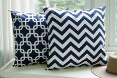 2 Pillow Covers Chevron Throw Pillows Navy Blue by BlossomPillowCo, $36.00
