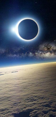 Solar Eclipse as Seen From Earth's Orbit