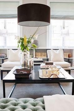 skona+hem+living+room+two+slipper+chairs+low+built+in+book+shelf+bookshelf+bookshelves+shelves+black+drum+pendant+light+lamp+oversized+large+cococozy.jpg (900×1358)