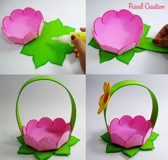 passo a passo cestinha formato flor lembrancinha enfeite mesa festa aniversario infantil menina eva porta guloseimas dia das maes (3)