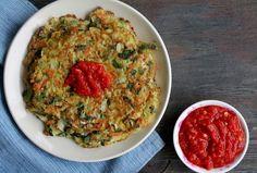 Vegetable Pancakes with Homemade Sriracha + Whole 30 Week 2 - Food, Pleasure, and Health