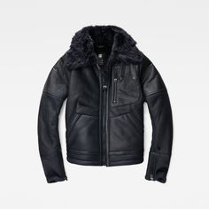 G-Star RAW | Women | 新着アイテム | Aviator Leather Jacket , Mazarine Blue