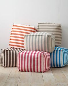 Our Fresh American Poufs are perfect for playrooms! They are easy to care for and come in a variety of patterns and colors.
