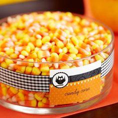 Candy Corn Display. Free printable food labels.