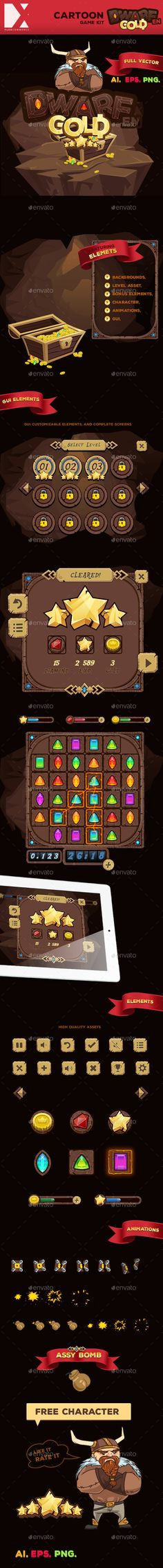 Dwarfen - Game Kit Layered PNG, Vector EPS, AI Illustrator. Download here: https://graphicriver.net/item/dwarfen-game-kit/10242978?ref=ksioks