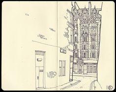 Sketchbook greatness. #art #journal #sketch #alley #city