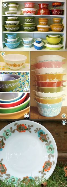 """#DIY: VIntage pyrex! I love this. Totally reminds me of being a little kid and playing in my Grandma's kitchen....especially the turquoise """"Amish Butterfly"""" pattern. #diy #howto #doityourself #livingwikii #diyrefashion #ideas #partymostess #tricks #home #tips"""