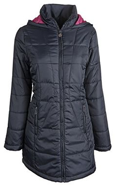 Long black down alternative coat