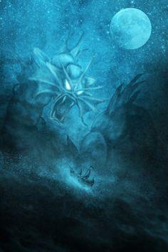 Awesome Pokemon art on Society6!  gyarados, sea monster art, pirate ship art, ocean art , moon art, stars art, storm waves art, space art
