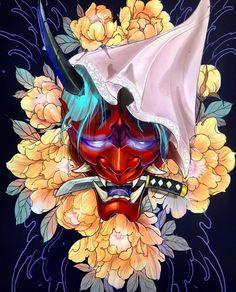 Piece has been spoken for 🙏🏼 Japanese Mask Tattoo, Japanese Flower Tattoo, Japanese Tattoo Designs, Japanese Sleeve Tattoos, Hannya Samurai, Samurai Tattoo, Samurai Art, Hannya Mask Tattoo, Hanya Tattoo