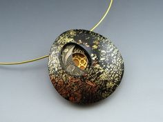 Layered polymer clay and brass pendant neckwire by Stonehouse Studio