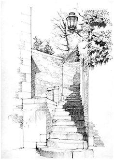 Liège, impasse des Ursulines by gerard michel, via Flick Sketch Painting, Drawing Sketches, Pencil Drawings, Art Drawings, Sketchbook Drawings, Sketchbook Architecture, Art Et Architecture, Landscape Architecture Drawing, Sketches Arquitectura