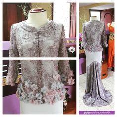 Vestido de gala con chaqueta de tul bordada y rematada con flores de tela a mano, diseñada y confeccionada para la Sra. Cumanda Wilches