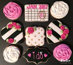Kate Spade Inspired Bridal Shower Decorated Cookies mateocookieco.com