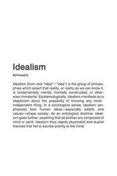IDEALISM #typography #typographyposter #philosophy