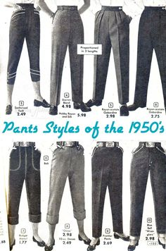 50s pencil pants jeans capri trousers clamdiggers One of the most desired, and often most misunderstood, articles in the vintage wardrobe are the trousers. Today I'm going to delve a little bit into the basics of the transition of trousers f…